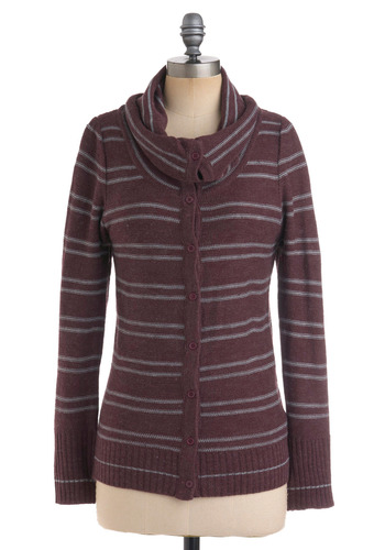 Romantic Comedy Cardigan in Plum - Stripes, Knitted, Long Sleeve, Casual, Fall, Winter, Purple, Grey, Mid-length