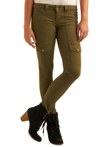 Cargo Diem Jeans in Olive - Green, Pockets, Casual, Military, Fall, Winter, Long, Denim