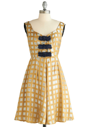Handle With Square Dress by 50 Dresses - Yellow, Blue, Print, A-line, Sleeveless, Tank top (2 thick straps), Formal, Wedding, Party, Gold, White, Silver, Mid-length