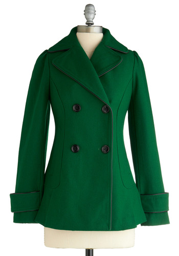 Jacket and the Bean Stalk Coat - Green, Solid, Long Sleeve, Casual, Vintage Inspired, Fall, Winter, Mid-length, 3
