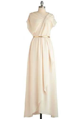 Goddess of the Gala Dress by Max and Cleo - Cream, Solid, Maxi, Short Sleeves, Formal, Wedding, Party, Vintage Inspired, Spring, Gold, Long, Ruffles, Prom, White