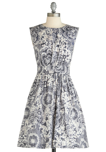 Too Much Fun Dress in Gardens by Emily and Fin - Floral, A-line, Cap Sleeves, Sleeveless, Wedding, Party, Work, Vintage Inspired, 50s, Spring, Blue, Mid-length, International Designer