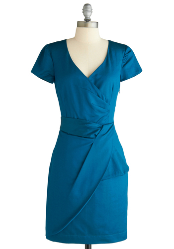 Variety Store Dress in Solid by Emily and Fin - Blue, Solid, Pleats, Shift, Short Sleeves, Work, Pinup, Mid-length, Satin, V Neck, International Designer