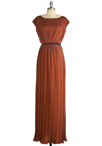Holiday Sneak Peek - Embodiment of Elegance Dress by Max and Cleo - Orange, Brown, Solid, Maxi, Cap Sleeves, Formal, Prom, Wedding, Party, Film Noir, Vintage Inspired, Fall, Winter