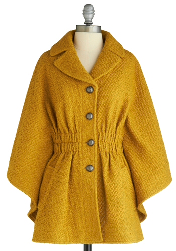 You're Golden Cape - Yellow, Solid, Long Sleeve, Party, Work, Casual, Fall, Winter, Long, 2