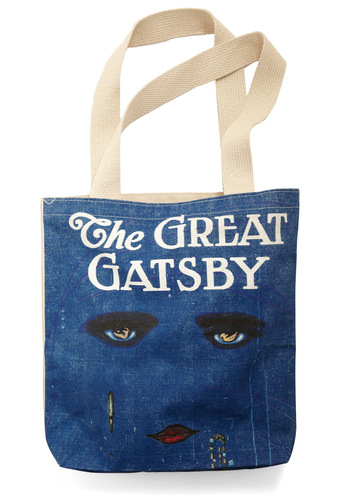 Bookshelf Bandit Tote in Scott by Out of Print - Blue, Cream, Multi, Print, Casual, 20s, Vintage Inspired, 30s, Cotton, Scholastic/Collegiate, Eco-Friendly, Work, Top Rated