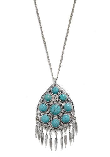 Bleubird Necklace - Silver, Blue, Boho, Feathers