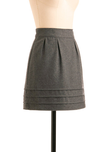 Industry Expert Skirt by Tulle Clothing - Grey, Solid, Pleats, Work, Casual, Fall, Winter, Short