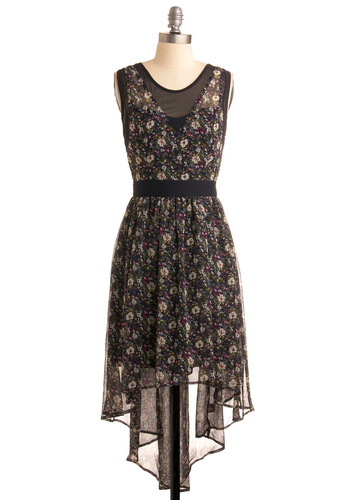 The Status Flow Dress - Tan / Cream, Multi, Floral, A-line, Sleeveless, Casual, Film Noir, Vintage Inspired, 20s, 30s, 40s, Black, White, Mid-length