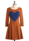 Frocktober Dress - Orange, Blue, Novelty Print, Pleats, A-line, 3/4 Sleeve, Solid, Casual, Fall, Short