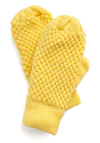 Hitting the Slopes Mittens in Yellow - Yellow, Casual, Fall, Winter