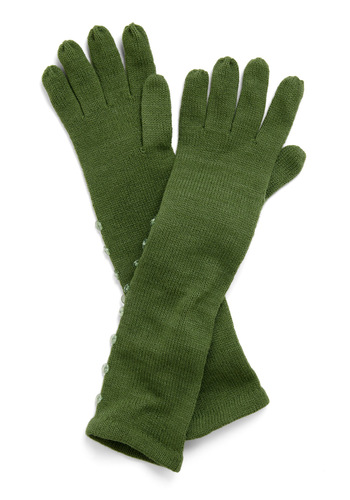 Longing for Snow Gloves in Holly by Tulle Clothing - Green, Solid, Buttons, Knitted, Fall, Winter