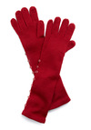Longing for Snow Gloves in Berry by Tulle Clothing - Red, Solid, Buttons, Knitted, Fall, Winter