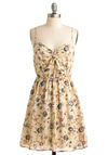 Vertical Garden Dress - Cream, Red, Blue, Floral, A-line, Spaghetti Straps, Casual, Mid-length