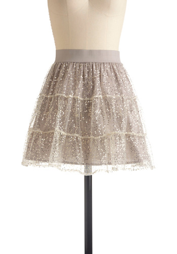 Flirting With Fabulousness Skirt by Jack by BB Dakota - Grey, Gold, Sequins, Solid, Party, Ballerina / Tutu, Fall, Winter, Mini, Short