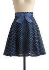 A Chance of Showers Skirt - Blue, Polka Dots, Bows, A-line, Party, Work, 50s, Spring, Fall, Print, Mid-length