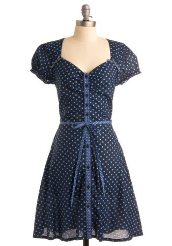 Thanks a Dot Dress - Blue, Polka Dots, Bows, Ruffles, A-line, Short Sleeves, Party, Work, 50s, Spring, Fall, Long, Belted, Cotton, Button Down, Fit & Flare, Sweetheart