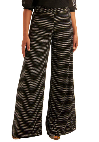 Street Spotting Pants - Black, White, Polka Dots, Casual, Long