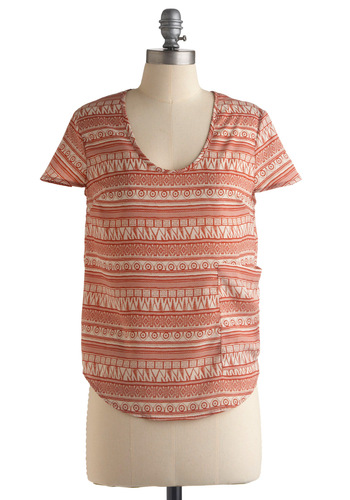 Cinna-minutia Top - Print, Pockets, Orange, Tan / Cream, Casual, Cap Sleeves, Summer, Fall, Mid-length