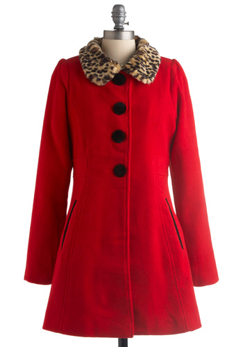 Red It All Before Coat - Red, Tan / Cream, Black, Solid, Long Sleeve, Brown, Animal Print, Fall, Winter, Long, 3