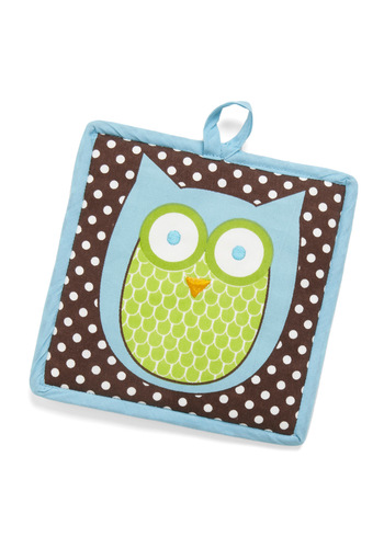 Cooking Owl Day Pot Holder - Brown, Yellow, White, Polka Dots, Owls, Cotton, Best Seller, Best Seller, Critters, Woodland Creature