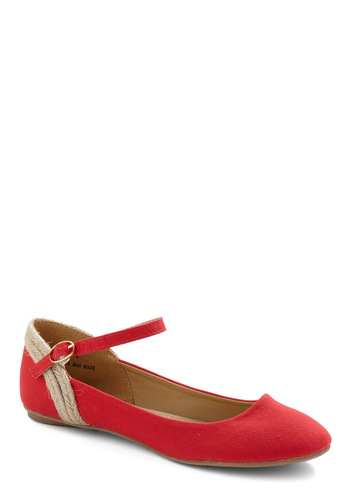 All Tide Up Flat in Boardwalk - Red, Tan / Cream, Casual, Spring, Summer, Fall