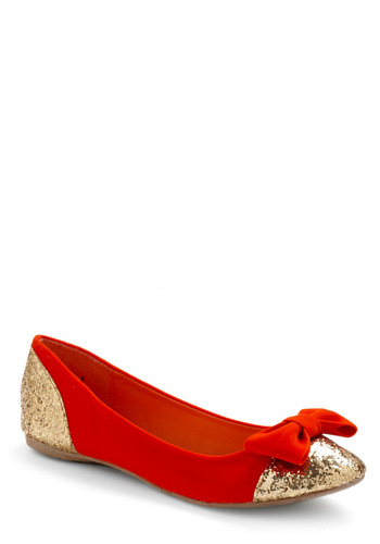 Gold-Oriented Flats - Red, Gold, Bows, Party, Fall