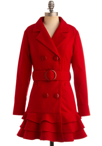 Candy Apple Chic Coat - Red, Solid, Ruffles, Tiered, Long Sleeve, Party, Fall, Winter, Long, 2.5