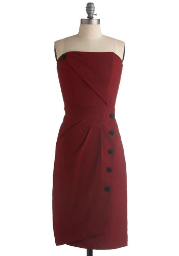 Backstage Jitters Dress - Red, Solid, Buttons, Sheath / Shift, Strapless, Wedding, Party, Vintage Inspired, Long, Rockabilly, Pinup