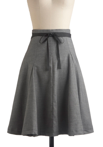 Kick Ball Change Skirt by Skunkfunk - Grey, Solid, Bows, Pleats, A-line, Work, Casual, Vintage Inspired, Spring, Fall, Mid-length