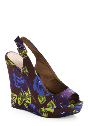 Attain the Impossible Wedge - Blue, Purple, Floral, Party, Casual, Spring, Summer, Yellow, Blue, Wedge
