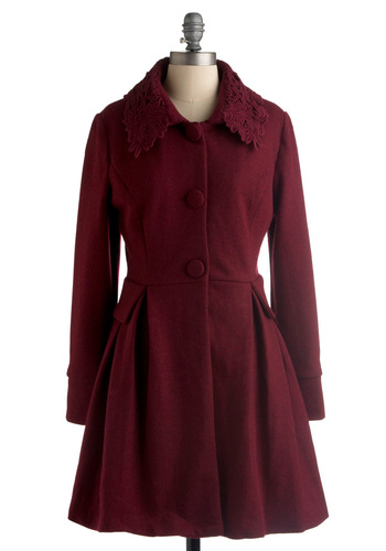 Kir Royal Coat by Darling - Red, Solid, Embroidery, Pleats, Long Sleeve, Fall, Winter, Lace, Vintage Inspired, 20s, 30s, Long