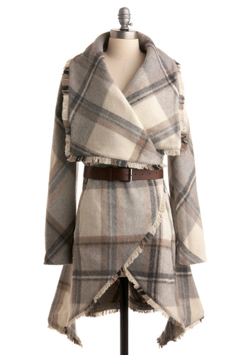 Homemade Marshmallows Coat - Cream, Grey, Plaid, Long Sleeve, Brown, Tan / Cream, Fringed, Fall, Winter, Long, 3