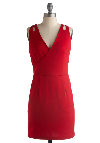 Drops of Drama Dress in Red by Jack by BB Dakota - Red, Solid, Cutout, Sheath / Shift, Sleeveless, Party, Spring, Summer, Fall, Mid-length