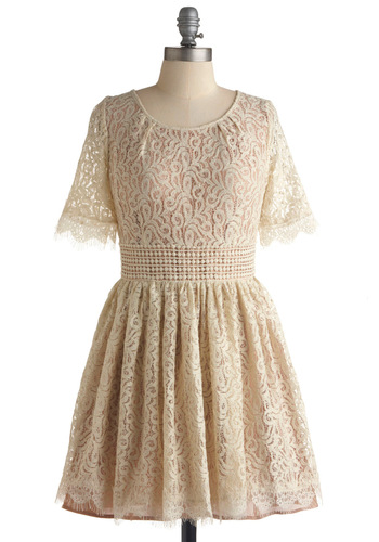Gentle Soul Dress by Darling - Cream, Lace, A-line, 3/4 Sleeve, Wedding, Party, Vintage Inspired, Spring, Fall, Scallops, Short