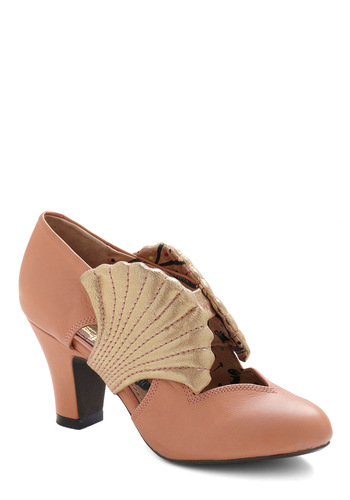 Out of Your Shell Heel by Miss L Fire - Pink, Gold, Party, Vintage Inspired, Spring, Summer