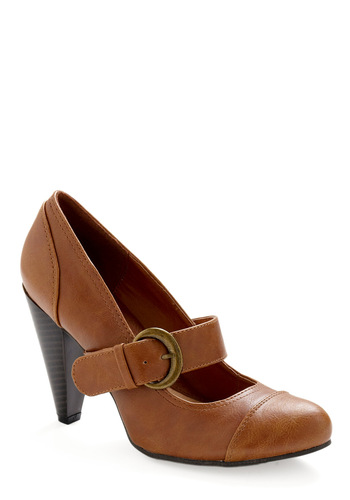 Kick It Up Heel - Solid, Buckles, Brown, Work, Casual, Fall