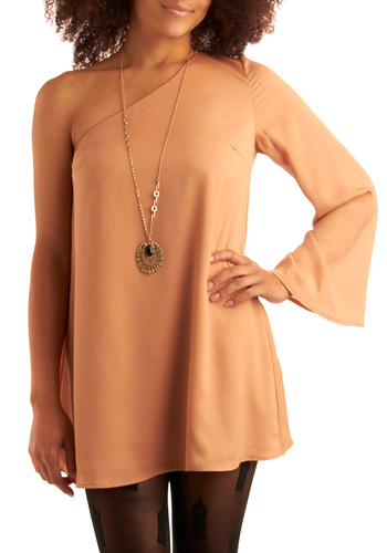 Wisp Me Away Dress - Orange, Solid, One Shoulder, Party, Mini, Sack, Long Sleeve, Short