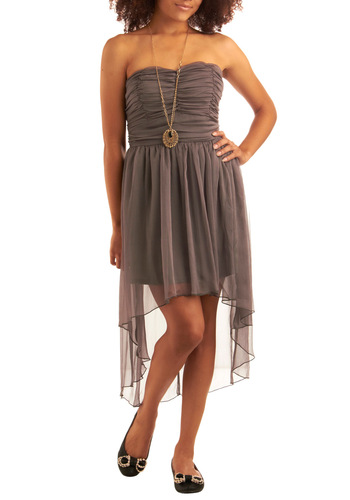 Diaphanous Dusk Dress - Grey, Solid, A-line, Strapless, Wedding, Party, Spring, Mid-length
