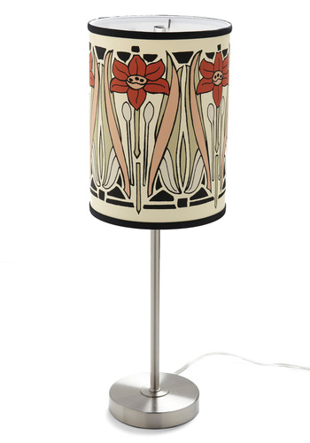 Natural Delight Lamp in Nouveau - Cream, Red, Orange, Green, Black, Floral, 20s