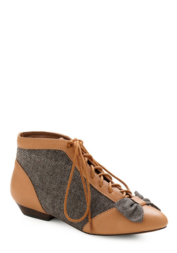 Holmes Away From Home Bootie - Tan, Black, White, Herringbone, Casual, Vintage Inspired, Fall, Winter