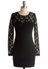 Look Like a Dream Dress - Black, Floral, Lace, Sheath / Shift, Long Sleeve, Wedding, Party, Short