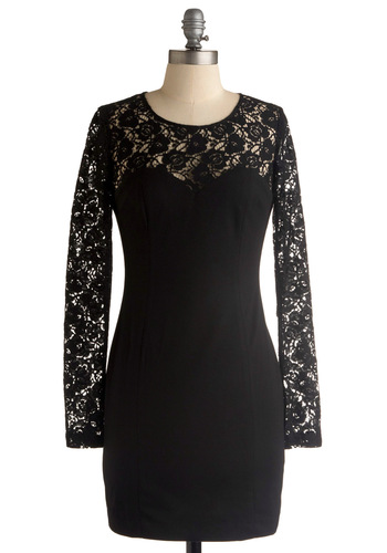 Look Like a Dream Dress - Black, Floral, Lace, Shift, Long Sleeve, Wedding, Party, Short