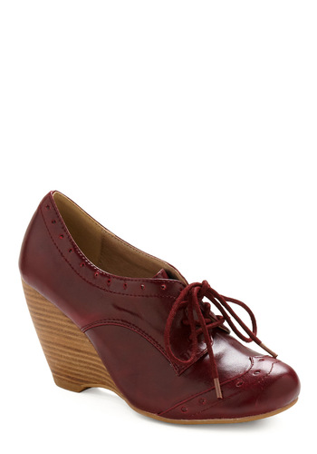 Dining Car Wedge by Chelsea Crew - Red, Solid, Work, Casual, Fall, Nautical, Wedge