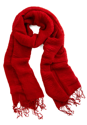 Gossamer Gyrose Scarf in Scarlet - Red, Solid, Fringed, Party, Casual, Spring, Fall, Winter