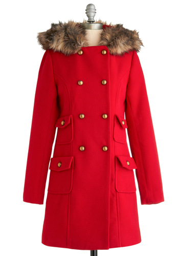 Warm Greetings Coat by BB Dakota - Red, Brown, Solid, Buttons, Pockets, Trim, Wedding, Party, Casual, Long Sleeve, Fall, Winter, Long