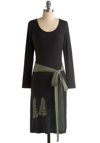 Fern Something New Dress - Black, Green, Print, Shift, Long Sleeve, Casual, Fall, Long, Embroidery