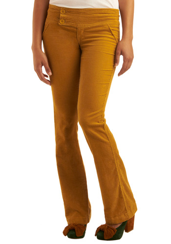 My Flare Lady Corduroy Pants in Dandelion - Yellow, Solid, Casual, Fall, Winter, Long