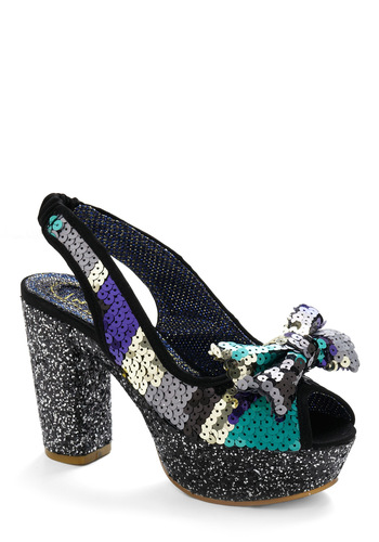 Walk in the Spark Heel by Irregular Choice - Black, Silver, Green, Blue, Sequins, Formal, Prom, Party, Summer, Fall