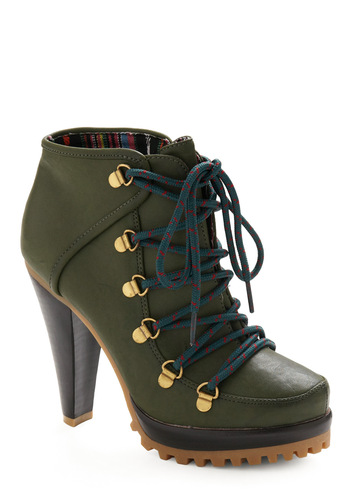 T-ready Set Go Heel - Green, Solid, Casual, Fall, Winter